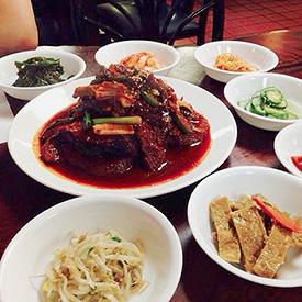 Braised cod and banchan at Jun Won