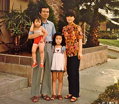In front of our first apartment in Koreatown. My not-very-pregnant-looking mom is actually very pregnant.