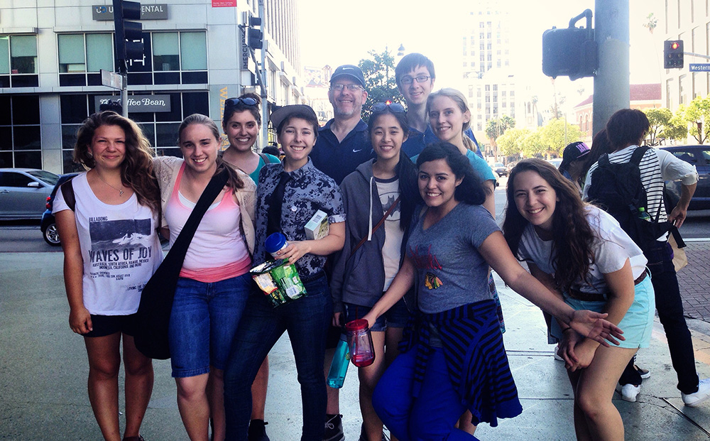 The first group tour for Urban Plunge 2015 on the corner of Western and Wilshire